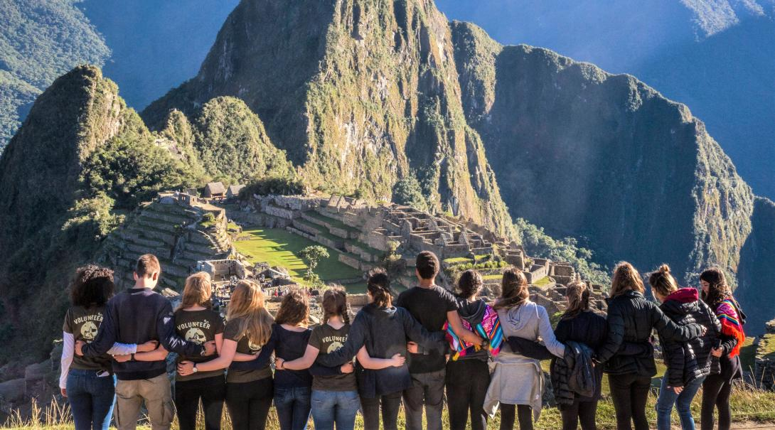 Projects Abroad volunteers hike to Machu Picchu during their gap year programme in Peru